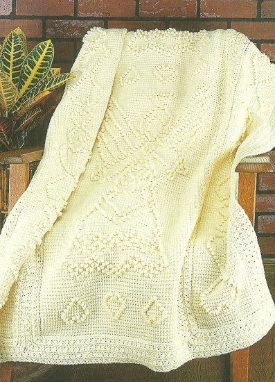 Crochet  * 4 *  Afghans - Angel - Star Diamond - Strawberries - Scallops