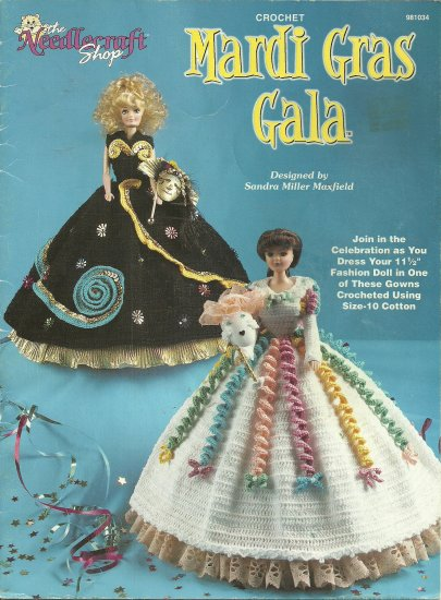 *Crochet  * 2 * Fashion Doll Mardi Gras Gala Dresses