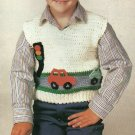 *Crochet Little Boy's Car Vest - Sizes 3 to 8 - Worsted Yarn