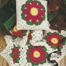 * Crocheted Poinsettia Afghan - Caps - Placemats