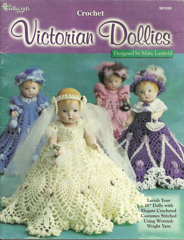 "* CROCHET * 4 * Victorian Doll Dresses for 18"" Dolls"