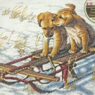 DOG cross Stitch Kit  SLED DOGS 2 Puppies on a sled
