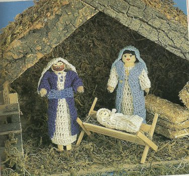 "Crochet Clothpin Nativity - 15"" Treetop Angel - Winter Rose Casserole Coaster-"