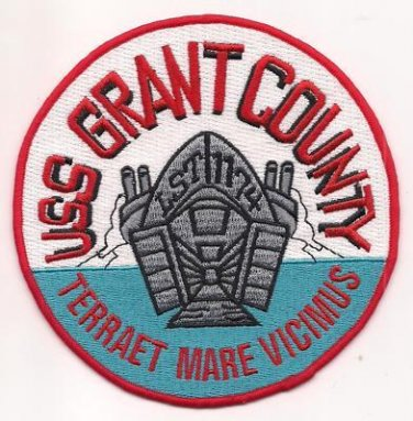 US Navy LST-1174 USS Grant County Military Patch