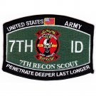 US Army MOS 7th Rocon Scout PENETRATE DEEPER LAST LONGER Patch
