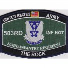 US Army 503rd Airborne Infantry Regiment MOS The Rock Patch