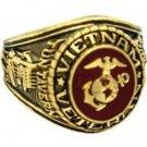 U S Marine Corp Vietnam Veteran Electroplated 18K Gold Ring