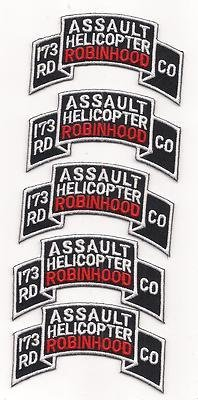 US Army 173rd AHC Assault Helicopter Company Robinhoods Patch 5 for 1 Price