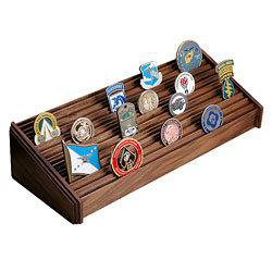 Walnut Large 12 Row Challenge Coin Display Rack