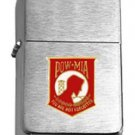 Brushed Chrome POW/MIA - RED Insignia Star Lighter