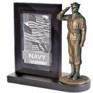 US Navy Bronze Cast Resin Statue With Cherry Base Photo Frame