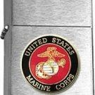 USMC United States Marine Corps Insignia Brushed Chrome Lighter