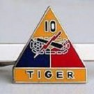 US Army 10th Armored Division Tiger Tie Clip