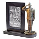 USAF Dress Blues  Bronze Cast Resin Statue With Black Base Photo Frame