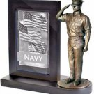 US Navy Chief Bronze Cast Resin Statue With Cherry Base Photo Frame