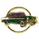 Chevy 1956 Gold Circle Green Car Emblem Pin Pinback