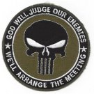 US Army Punisher Skull God Will Judge Our Enemies OD Green Patch