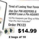 Hat Pin Locker Lable Pin Keepers Push Pin Locker 2 Bag of 10 Pin Locks