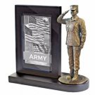 US Army Female Bronze Cast Resin Statue With Cherry Base Photo Frame