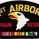 US Army 101st Airborne Vietnam Veteran with Ribbons Black Hat Patch