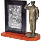 United States Army Bronze Cast Resin Statue With Cherry Base Photo Frame