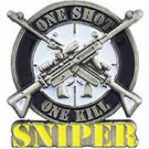 SNIPER One Shot One Kill Badge Emblem Pin