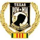 """United States POW * MIA Wreath Texas 1-5/16"""" Pin Back"""