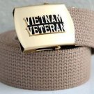 Vietnam Veteran Khaki Belt & Brass Buckle