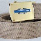 US Army CIB Badge Emblem Khaki Belt and Buckle