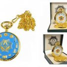 Blue and Gold Color Masonic Pocket Watch