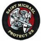 Saint Michael PROTECT US RED Patch With Vel Backing