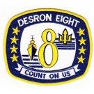 US Navy DESRON 8 DESTROYER SQUADRON PATCH COUNT ON US Patch