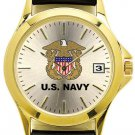 U.S. Navy Watch with Deluxe Leather Strap & Date- 30m Water Resistant