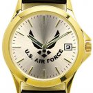 USAF Watch with Deluxe Leather Strap & Date- 30m Water Resistant