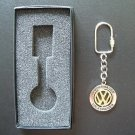 VW VOLKSWAGEN POLISHED STEEL KEY RING FOB WITH GOLD COLOURED VW CENTRE DISC