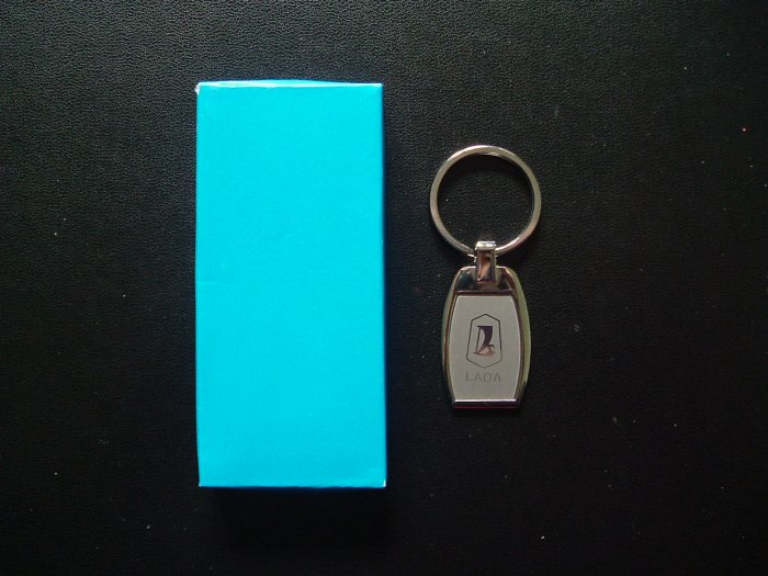 LADA POLISHED STEEL KEY RING IN A STYLISH TAG DESIGN