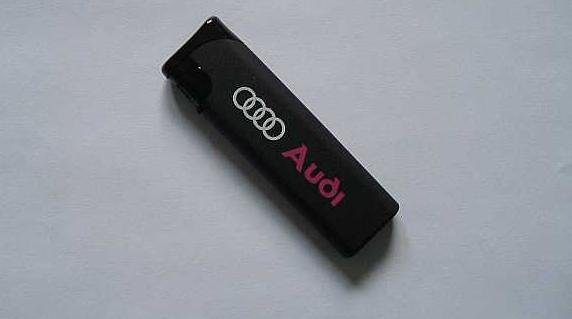 AUDI NAME AND BADGE ON BLACK GAS LIGHTER
