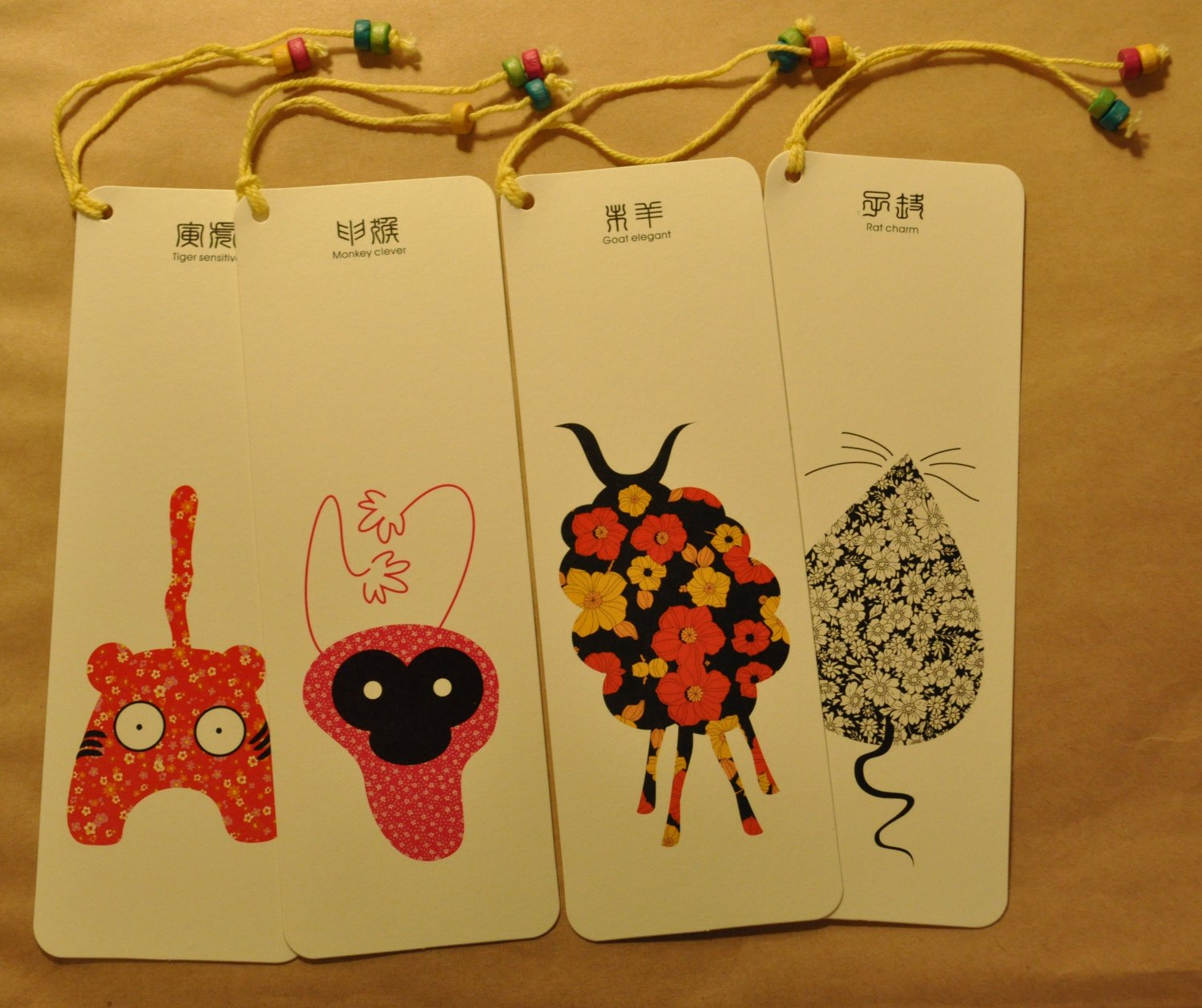 Bookmarks with Chinese Zodiac set of 12