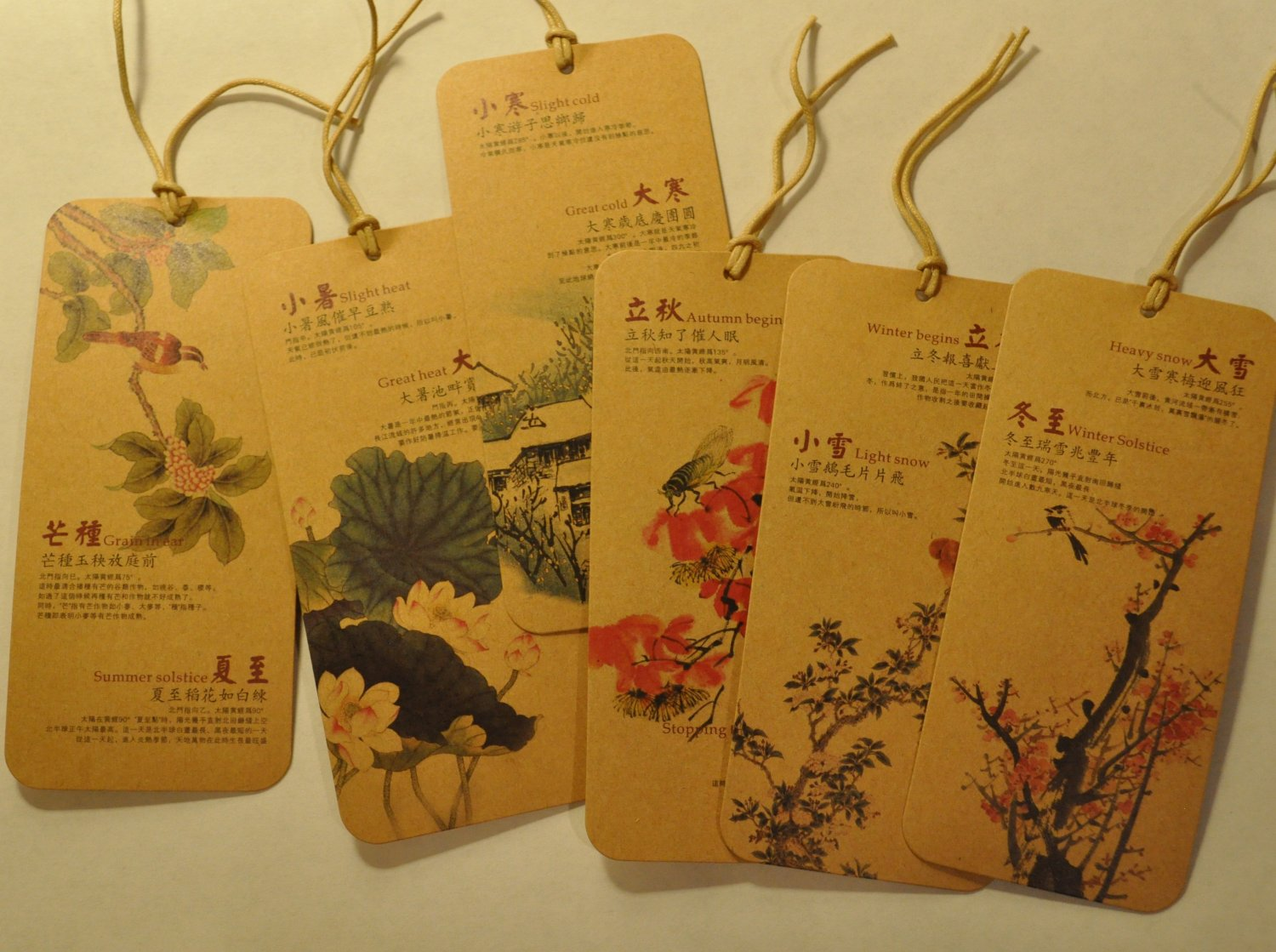 Bookmarks for 24 Chinese Solar Terms set of 12 S