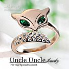 18K Rose Gold Plated Green Eyes Rhinestones Inlaid Trendsetter Luxury Fox Design Lady Finger Ring