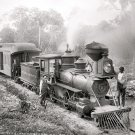 Old Vintage PHOTO PICTURE PRINT: STEAM TRAIN, 1897, LOCOMOTIVE, FLORIDA, DOG