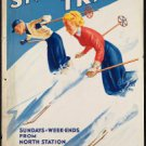 Old Vintage Travel Poster Photo Reprint: Skiing, Snow Train---Boston + Maine