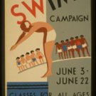 """Old Vintage WPA Photo Reprint:""""LEARN TO SWIM CAMPAIGN"""" -Department of Parks"""