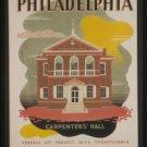 "Old Vintage WPA Photo Reprint: PHILADELPHIA---""Carpenters Hall"" Federal Art Proj"