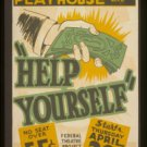 """Old Vintage WPA Photo Reprint: """"HELP YOURSELF"""" PLAY--Hollywood Blvd & Vine Str"""