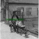 """1902 """"The Gardeners Pets"""" Tobacco Pipe, Pet Duck(8x10) ANTIQUE RP Dog PHOTOGRAPH"""