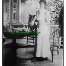 """MRS W.G. HARDING WITH DOG """"HUB"""" ON TABLE 1910 (8x10) ANTIQUE DOG RP PHOTOGRAPH"""