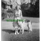 MILLER WITH DOG IN 1900--VINTAGE DRESS (8x10) ANTIQUE DOG RP PHOTOGRAPH