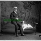 1914 PIERRE LORILLARD WITH DOG ON BENCH AND CANE(8x10) ANTIQUE DOG RP PHOTOGRAPH