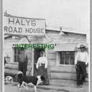 """JIM HALY """"AND HIS SQAQ"""" IN 1908 HALY ROAD HOUSE (8x10) ANTIQUE DOG RP PHOTOGRAPH"""